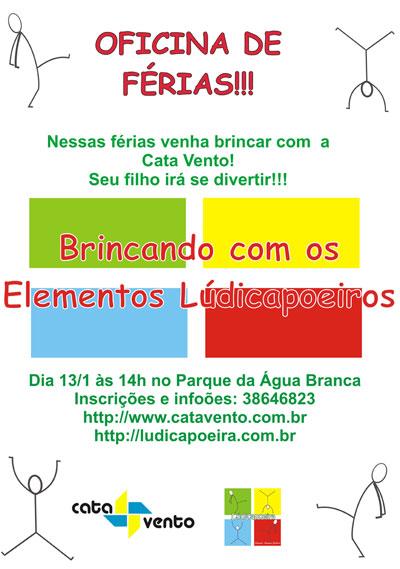 Dia 13 de Janeiro será realizada a Oficina de Capoeira no Parque da Água Branca