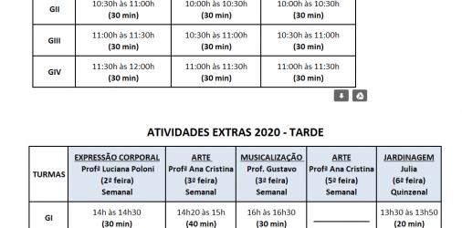 Cronograma semanal de atividades extras 2020